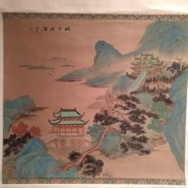 """Another beautifully painted Chinese, scroll of a hillside temple, measures 23"""" x 41""""."""