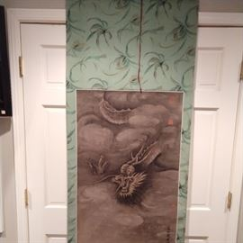 """Hand painted Chinese scroll of dragon, measures 6' 1"""" x 2' 3""""."""