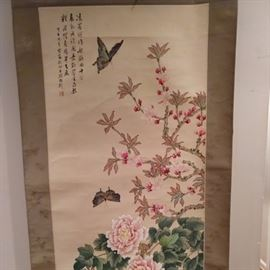 """Yet another hand painted Chinese scroll, of peonies, measuring 5' 6"""" x 1' 9""""."""