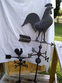 Small cast iron rooster wind/weather vane and vintage weathered copper, large rooster wind/weather vane.