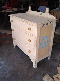 Old dresser-restored and upscaled to a blanket chest.