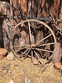 TONS OF ANTIQUE YARD ART!, WAGON WHEELS, WINDMILL, FIRE STATION HOSE REEL, COW SKULL, PETROFIED WOOD & MORE!