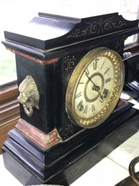Antique Ansonia Mantle Clock with figural lion heads