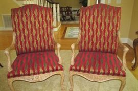 "Pair French chairs by Fairfield Chair Co.;  They are 26"" wide, 21.5"" deep, and 46"" back height."
