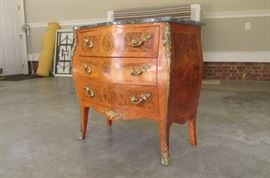 "$325.  Small French commode chest with a mixture of  burl walnut , other unique wood designs and marble top.  Originally purchased from Cashion Furniture for $1,200.  It is 31"" tall,  32"" wide, and 17"" deep"