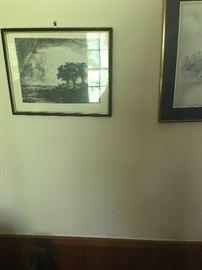 Three trees etching