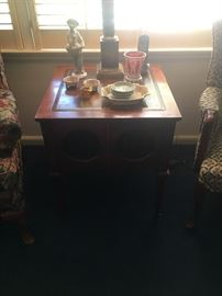Leather topped living room table