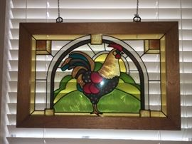 Stained Glass Rooster Window Art