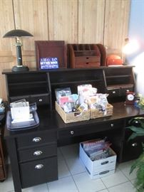 Desk/Hutch, Desk Lamp and Office Supplies
