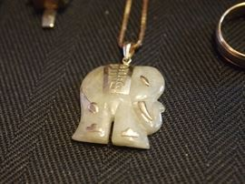 Carved Jade elephant & gold