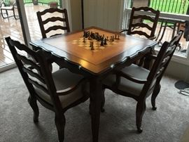 "3. Game Table (40"" x 40"" x 30"") 4. 4 Ladderback Chairs w/ Upholstered Seats on Casters (23"" x 21"" x 38"")"
