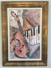 "2. Framed Art of Violin, Piano, Horn by Scolala (29"" x 41"")"