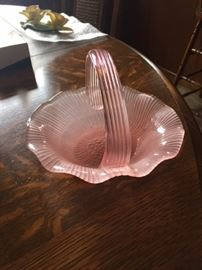 Pink Glass Candy Dish.