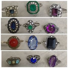 DECO ERA Collection of more than 25pc OLD STORE STOCK STERLING Rings. This collection is from a family that owned a  jewelry store and escaped to the US from France in the late 30s. Sizes are larger and the the Estate has about 18 pieces in the collection. All never worn.
