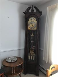 Beautifully maintained grandfather clock.