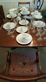 Drexel table and 6 needlepoint chairs