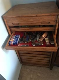 Display cabinet with pocket knife collection
