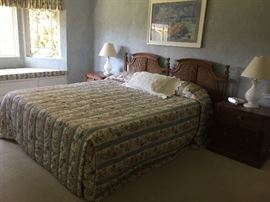 CA king mattress, headboard & frame.