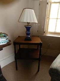 Pair of tables and pair of lamps