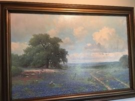 Large vintage Porfirio Salinas bluebonnet print. classic Texas