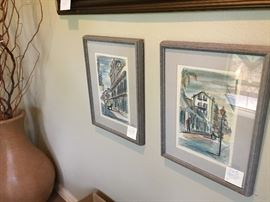 Pair of midcentury New Orleans etchings signed with artist monogram.