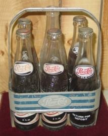 Metal Pepsi Cola Carrier w/Bottles