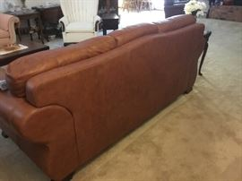 Back of leather sofa