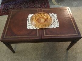 1920's leather top coffee table