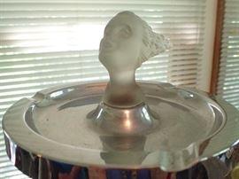 ANTIQUE NEGBAUR LADY NICOTINE ART DECO GLASS CAR MASCOT WOMAN CHROME ASHTRAY