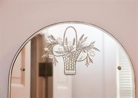 Frameless Arched Reverse Etched Glass Mirror with Flower Basket Motif