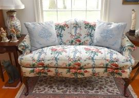 Queen Anne Camel Back Settee / Sofa with Cabbage Rose Upholstery