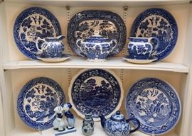 Large Collection of Blue Transferware
