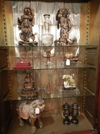 COLLECTION OF ANTIQUE WOOD FIGURES, HEARTSTONE CARVINGS, LACQUER WARE, ETC