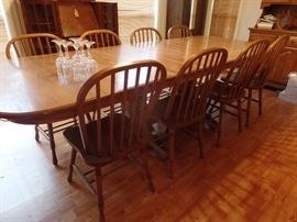 Banquet table with 8 chairs