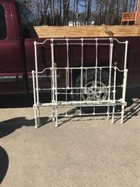 Twin iron bed w/rails $100 Full iron bed w/rails $125