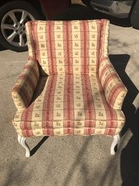 French styled occasional chair with fun white legs.