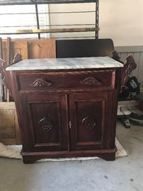 Antique cherry wash stand with marble top. $100