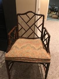 Set of 8 bamboo chairs - upholstered and cane seats.  $20 ea or 8 for $150.
