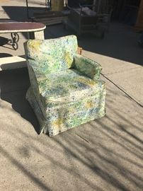 Slipcovered club chair... super cute fabric for a girl's room or sun porch.