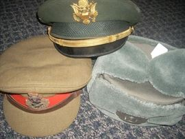 Foreign and domestic Military Hats.