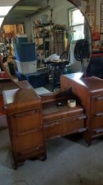 ANTIQUE VANITY/MIRROR.   ALSO MATCHING HEADBOARD/FOOTBOARD AND CHEST