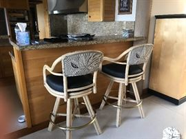 two bar height stools also by McGuire asking 180 for the pair