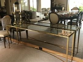 "solid brass based console 72"" l x 15""d x 29""h asking $300"