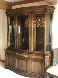"China hutch by Karges  Furniture Company of Michigan 72""w x 18""d x 82""h wonderful lighted display space   asking $310"