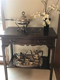 "wonderful bar and server - leaves extend on each end to create a wonderful piece to serve guests  It is 34""wide x 20""d x 36""h and when the top is flipped open it is 68"" wide.  Drawer stores serving utensils or.... asking $190"