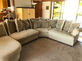 "custom sectional   in Robert Allen Legato Onyx fabric with down wrapped cushions from the Umphred Gallery and  custom matching rug.  The chaise portion  of the sectional is 66"" deep it protrudes into the room.  The width of the overall piece is 107"" along longest back side and 73"" along the the shorter side as it turns the corner.  It is four very manageable pieces. Asking $450  Custom rug is 13'5"" x 10' asking $100"