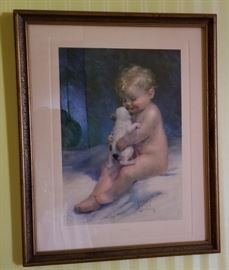 Vintage Child and Puppy Print
