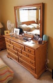 "Solid Wood Oak Finish 10 Drawer Dresser With Mirror, 72""H x 61.75""W x 19""D"