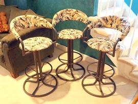 "Metal And Upholstery Swivel Bar Stools 41.5""H, Qty 3"