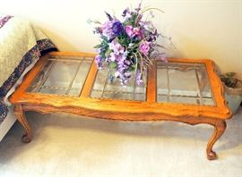 "Oak Finish Wood Coffee Table With Beveled Leaded Glass Top 16.25""H x 54""W x 28""D"